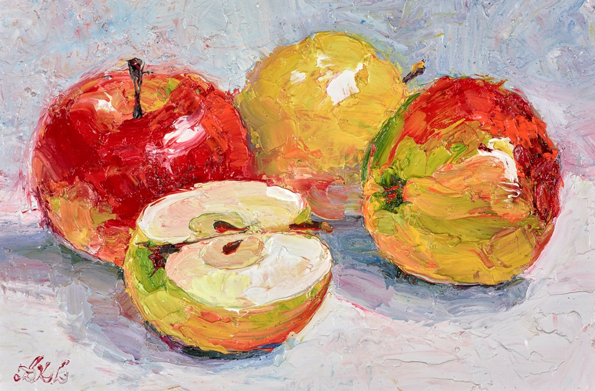 Shiny Apples III by lana okiro -  sized 9x5 inches. Available from Whitewall Galleries